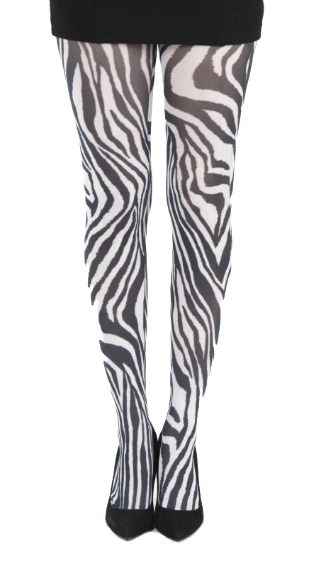Zebra Animal Print Black and White Tights by Pamela mann UK on Tights Etc South Africa
