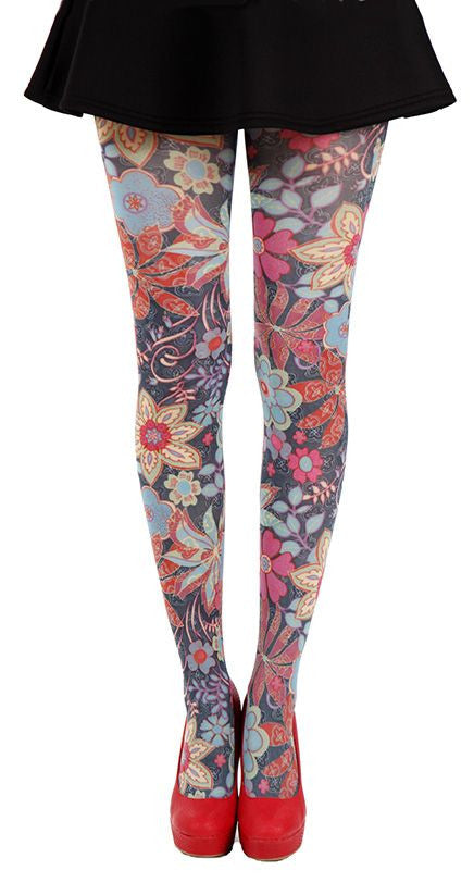 Zesty red and orange flowers scattered all over on black tights by Pamela Mann UK on Tights Etc South Africa