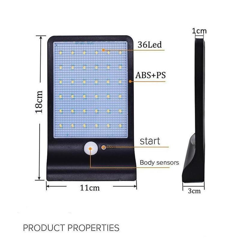 180 Degree Adjustable 36 LED Solar Power Motion Sensor Wall Light