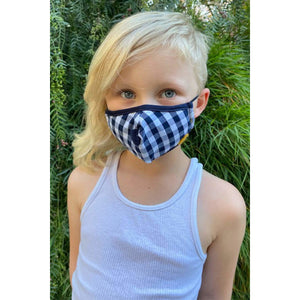 Navy and White Gingham Kids Mask