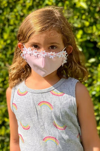 Pink and White Garland Child Mask