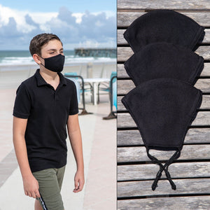 V3RY Black Cloth Mask for Youth with Adjustable earloops (3-pack)