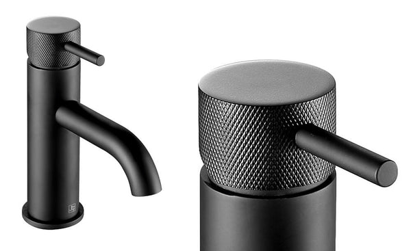 matt black basin mixer tap with knurled detail on handle