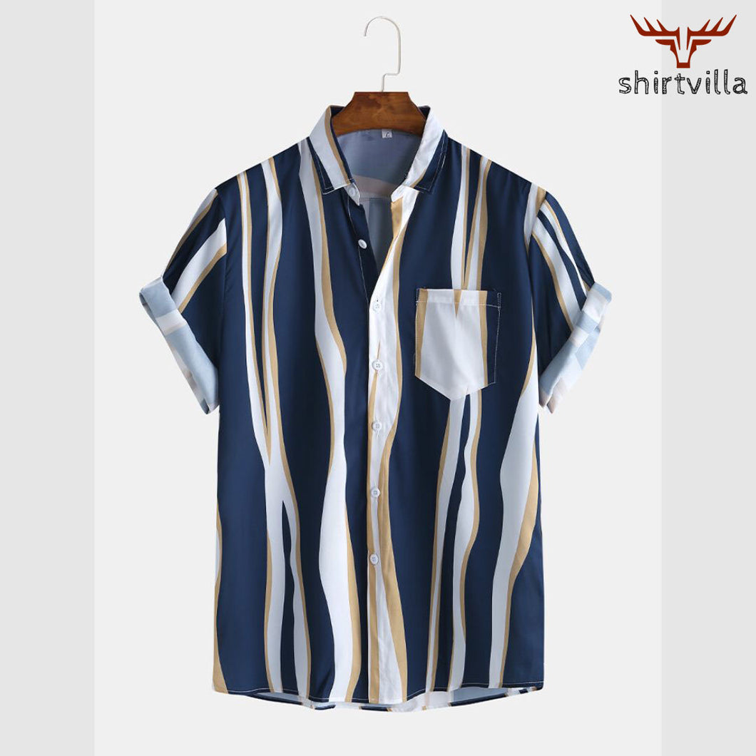 Navy Blue Stripe Printed Casual Wear Stylish Short Sleeves Shirts