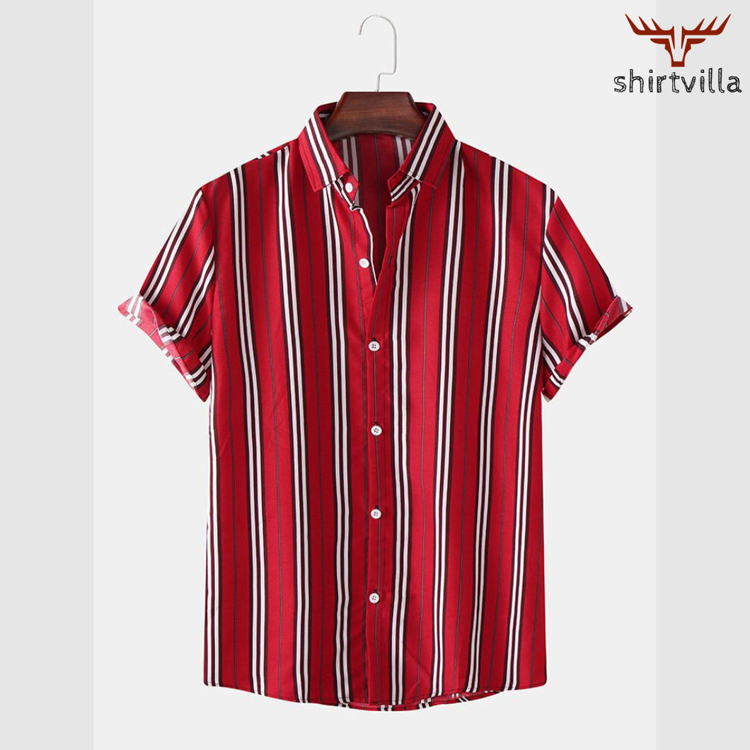 Red Stripe Printed Casual Wear Stylish Short Sleeves Shirts