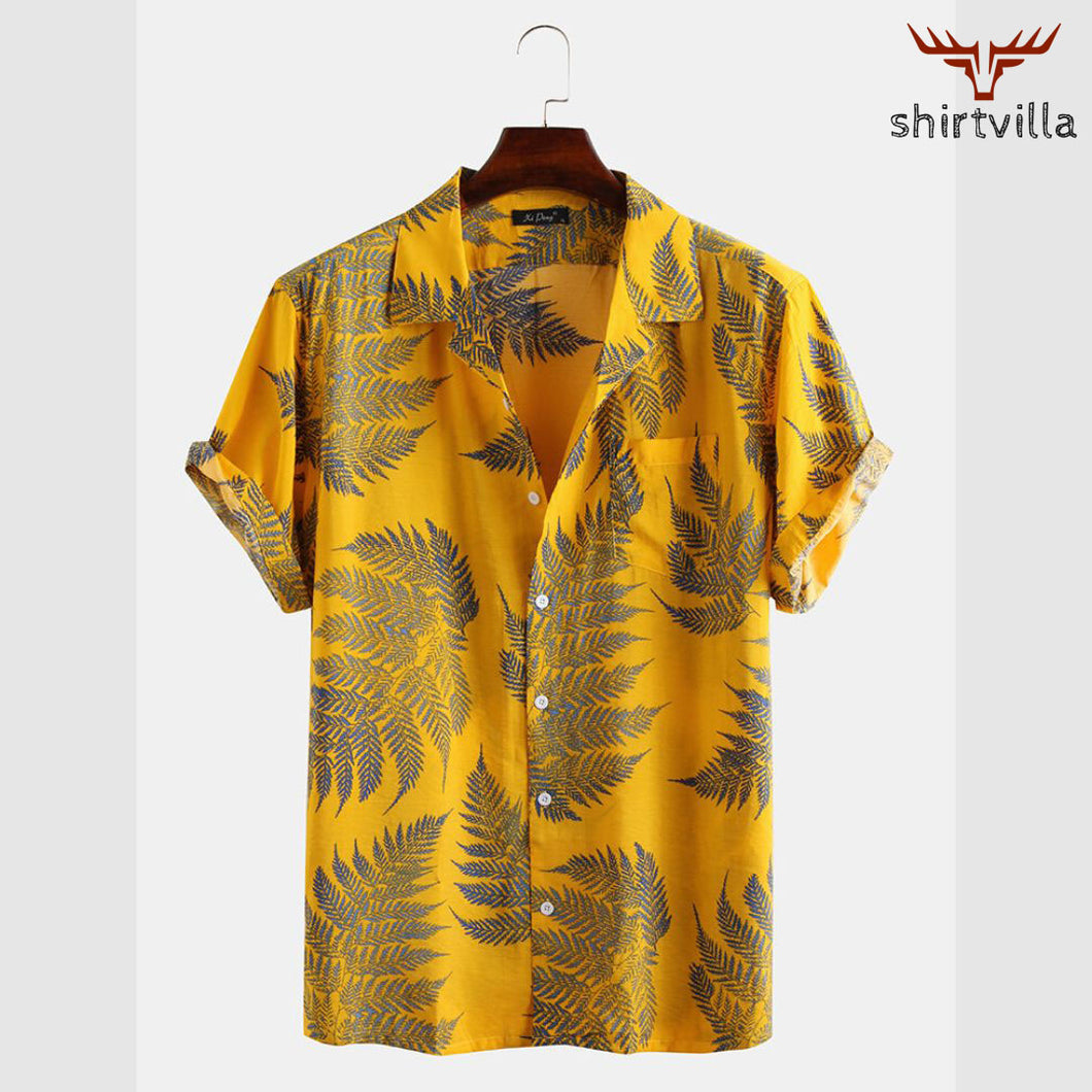 Yellow Pine Printed Street Wear Stylish Short Sleeves Casual Shirts
