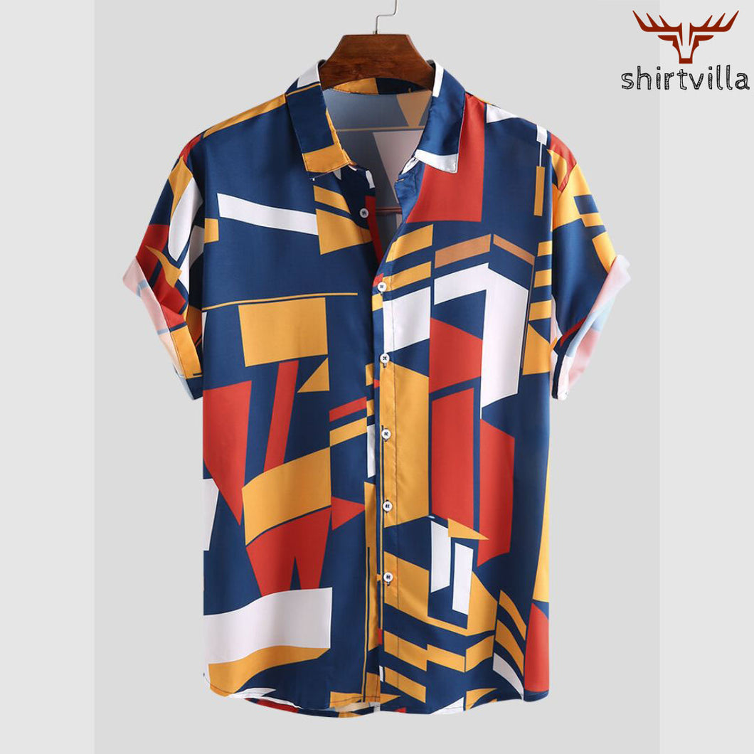 Navy Blue Abstract Printed Street Wear Stylish Short Sleeves Casual Shirts