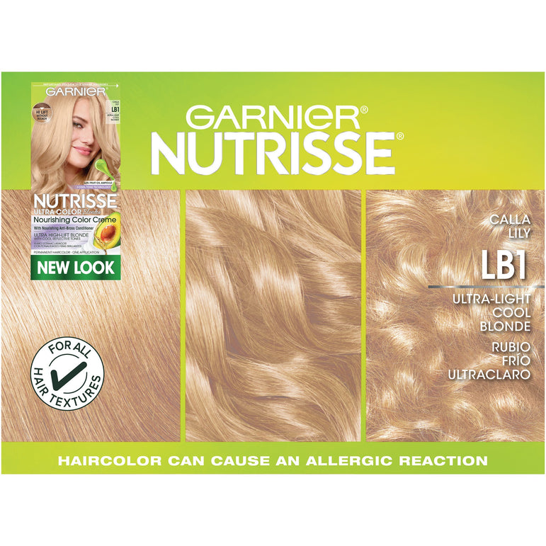 Garnier Nutrisse Ultra Color Nourishing Hair Color Creme, LB1 Ultra Light Cool Blonde, 1 kit-CaribOnline