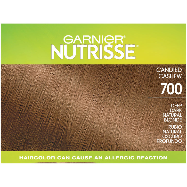 Garnier Nutrisse Ultra Coverage Nourishing Hair Color Creme, Deep Dark Natural Blonde (Candied Cashew) 700, 1 kit-CaribOnline