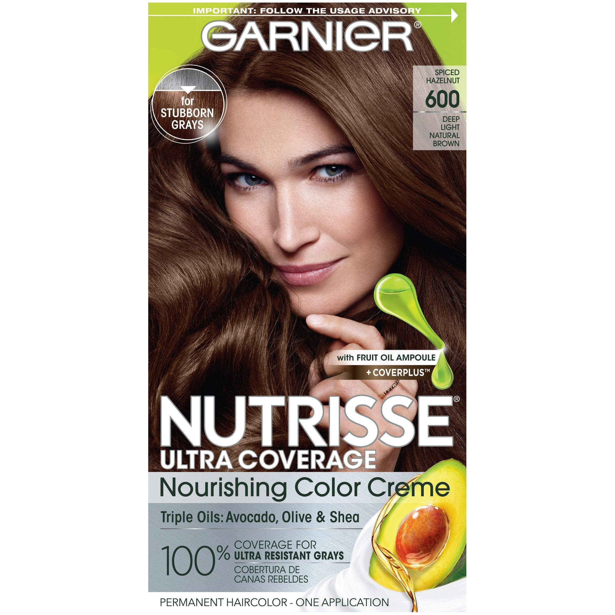 Garnier Nutrisse Ultra Coverage Nourishing Hair Color Creme, Deep Light Natural Brown (Spiced Hazelnut) 600, 1 kit-CaribOnline