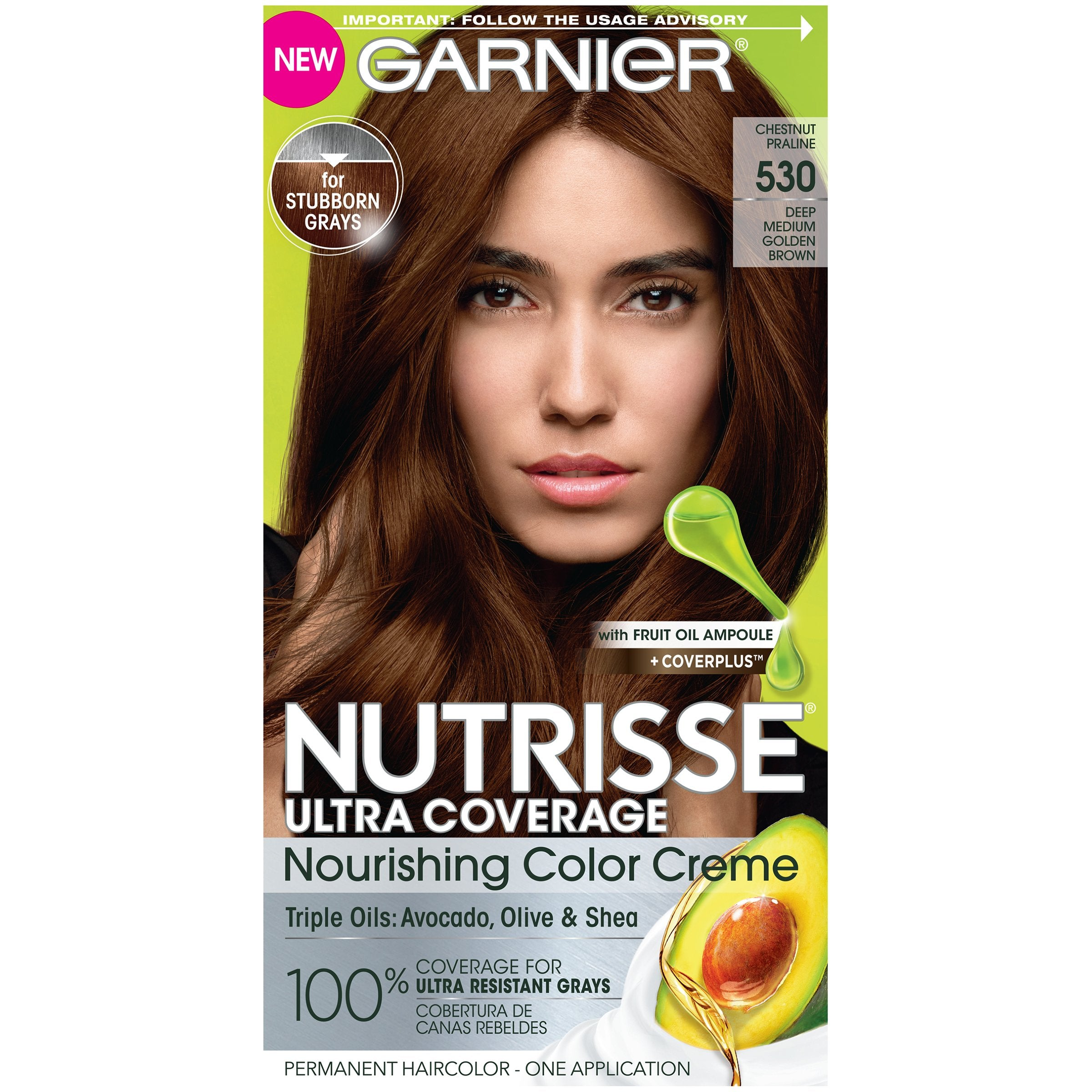 Garnier Nutrisse Ultra Coverage Nourishing Hair Color Creme, Deep Medium Golden Brown (Chestnut Praline) 530, 1 kit-CaribOnline