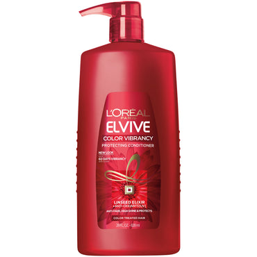 L'Oreal Paris Elvive Color Vibrancy Protecting Conditioner, for Color Treated Hair, Conditioner with Linseed Elixir and Anti-Oxidants, for Anti-Fade, High Shine, and Color Protection, 28 Fl Oz-CaribOnline