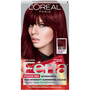 L'Oreal Paris Feria Multi-Faceted Shimmering Permanent Hair Color, R48 Red Velvet (Intense Deep Auburn), 1 kit-CaribOnline