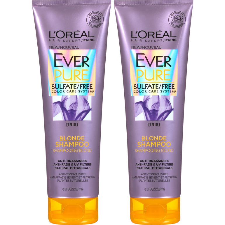 L'Oreal Paris Hair Care EverPure Blonde Sulfate Free Shampoo for Color-Treated Hair, Neutralizes Brass + Balances, For Blonde Hair, 2 Count (8.5 Fl. Oz each) (Packaging May Vary)-CaribOnline