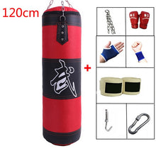 Charger l'image dans la galerie, 60cm 80cm 100cm 120cm Empty Boxing Punching Bag Hanging Kick Sandbag Boxing Training Fight Karate Sandbag with Glove Wrist Guard