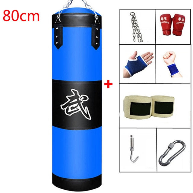 60cm 80cm 100cm 120cm Empty Boxing Punching Bag Hanging Kick Sandbag Boxing Training Fight Karate Sandbag with Glove Wrist Guard