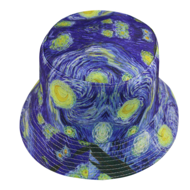 Van Gogh Starry Sky painting can be worn with a fisherman's hat on both sides