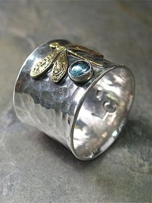 Vintage  Aquamarine Dragonfly Ring