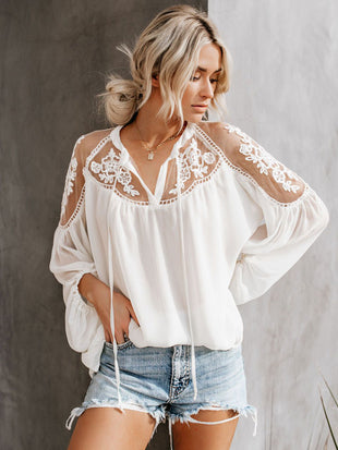 Women's Sexy See-through V-neck Lace Shirt