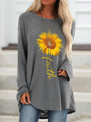 Sunflower Faith Print Long Sleeve Top