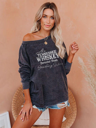 Smooth As Tennessee Whiskey Sweeter Than Strawberry Wine Print Sweatshirt
