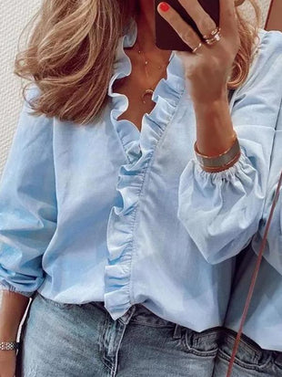 Cotton Long-Sleeve Ruffle Blouse