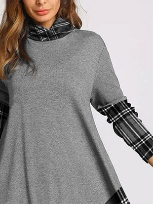 Women's Long-sleeved Plaid Stitching Long-sleeved Dress