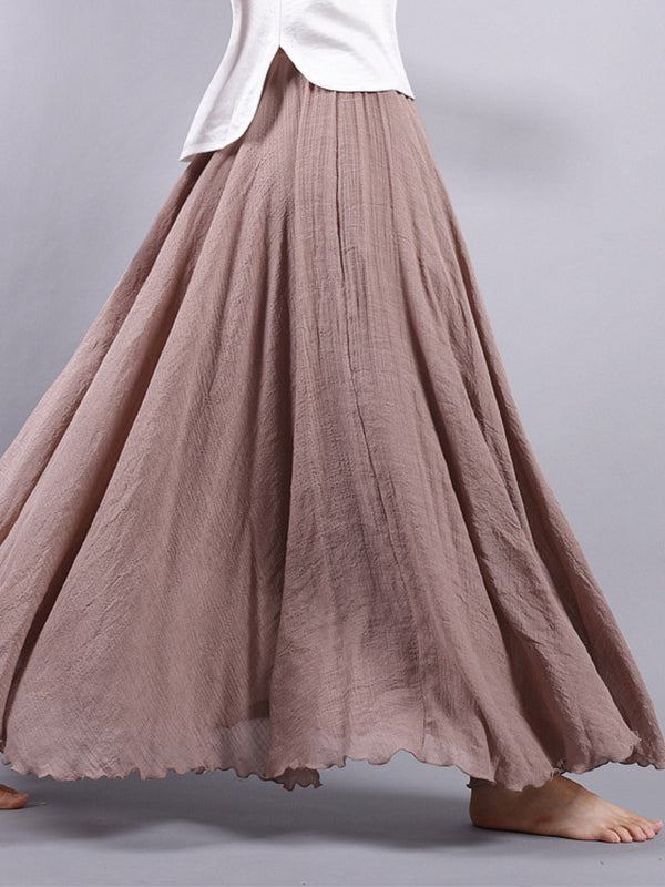 Vintage Natural Hemp Ultra Wide Skirt