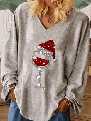 Women's Christmas Red Wine Glass Print top