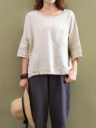 Plus Size Women's Casual Cotton And Linen Loose Round Neck Three-quarter Sleeve Solid Color Tee