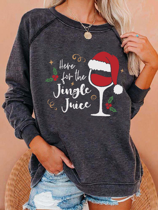 Ladies Here for The Jingle Juice Wine Glass Print Shirt