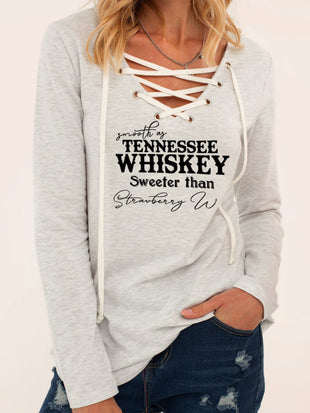 Smooth As Tennessee Whiskey Sweeter Than Strawberry Wine Print V-Neck T-Shirt