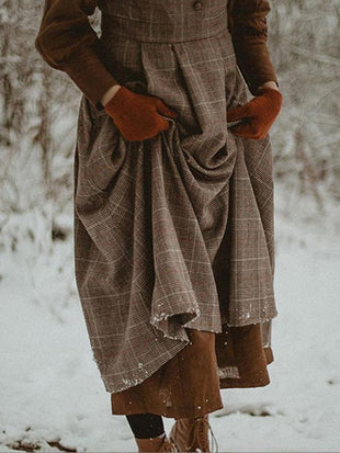 Vintage Wool Check Winter Pinafore Dress
