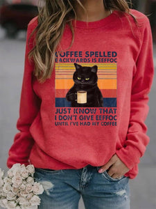 Women's Coffee Spelled Backwards Is Eeffoc Cat Sweatshirt