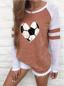 Women's Heart-shaped Football Print Long Sleeve T-shirt