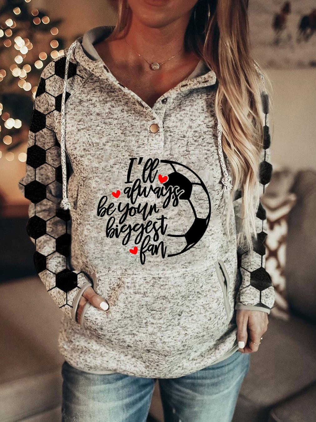 Women's I'll Always Be Your Biggest Fan Arm Football Print Hoodie