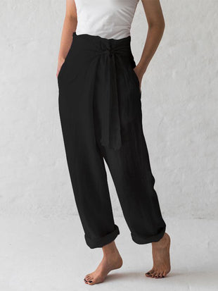 Cotton and Linen Solid Color High-waist Pleated Casual Pants