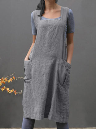 Loose cotton and linen long dress