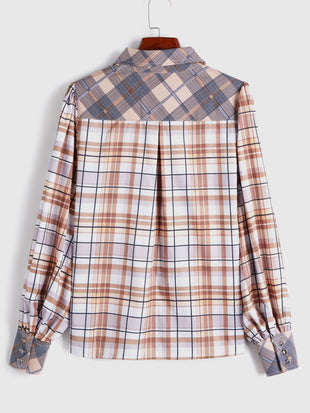 Plaid Patchwork Button Up Shirt