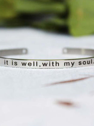 It Is Well With My Soul Open Stainless Steel Bracelet