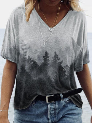 Lady's Treetop Mist printed casual T-shirt
