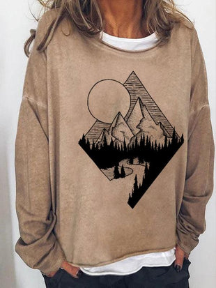 Lady's Mountain print hoodie with round neck and long sleeves