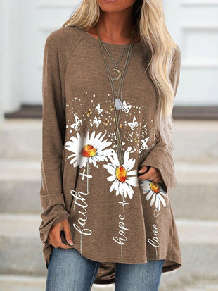 Women's Daisy Faith Print Crew Neck Casual Top