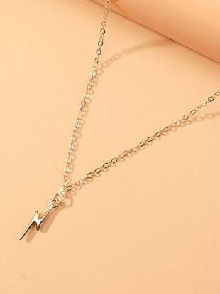 Lightning Pendant Slim Chain Necklace - sheadora