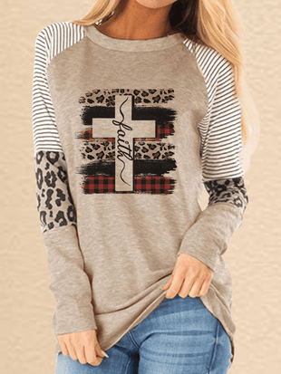 Women's Faith And Cross Printed Leopard Splicing Long Sleeve T-shirt