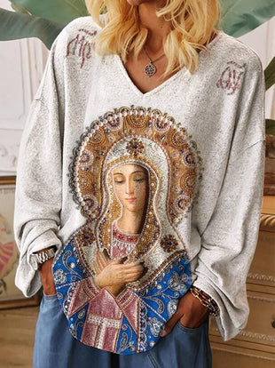 Women's Virgin Mary Print Casual T-shirt
