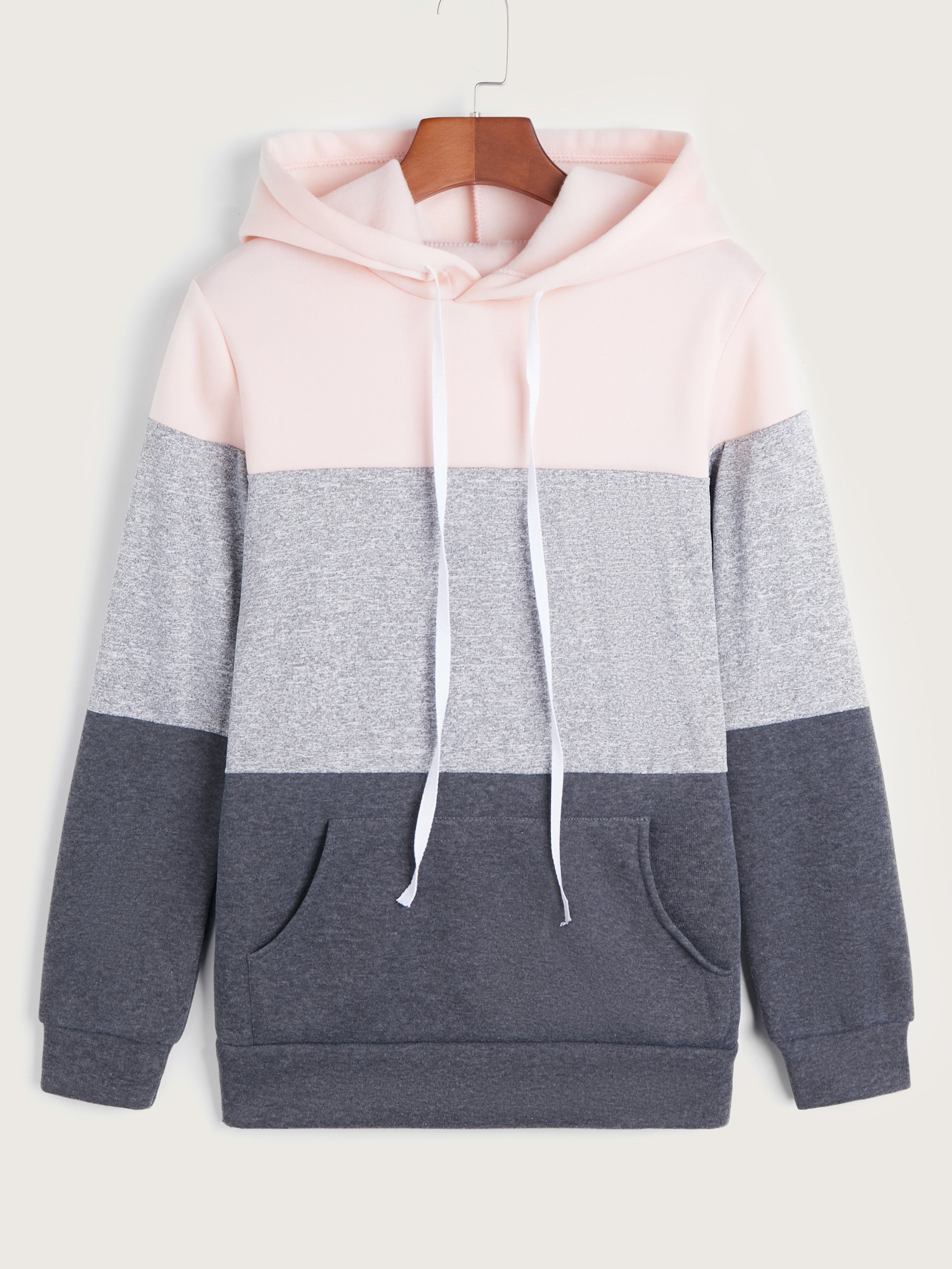 Three Tone Colorblock Drawstring Pullover Hoodie