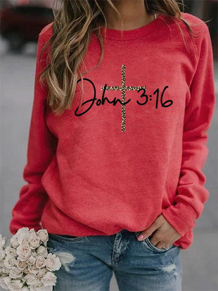 Women's John 3:16 Cross Printed Casual Sweatshirt