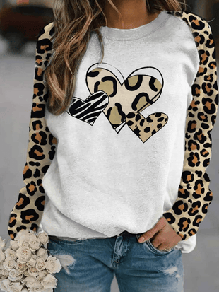 Women's Leopard Print Love Sweatshirt