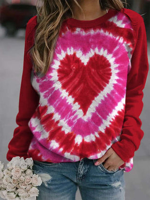 Women's Valentine's Day Tie-Dye Printed Casual Sweatshirt